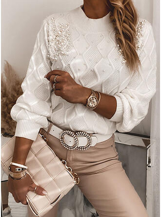 Solid Beaded Crew Neck Casual Sweaters