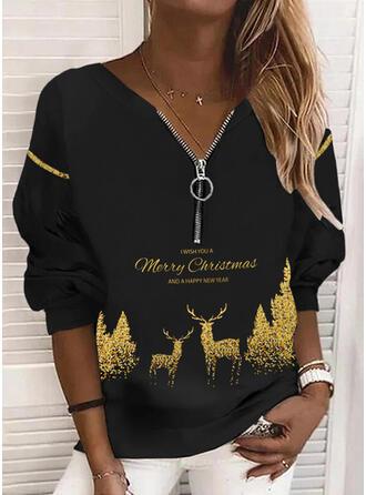 Christmas Print Letter Reindeer V-Neck Long Sleeves Christmas Sweatshirt