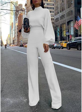 Solid Stand collar Long Sleeves Lantern Sleeve Casual Elegant Jumpsuit