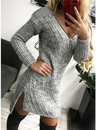 Solid Long Sleeves Sheath Above Knee Little Black/Casual Sweater Dresses