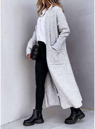 Solid Pocket Casual Long Cardigan