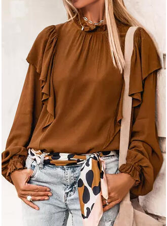 Solid Stand collar Long Sleeves Butterfly Sleeve Casual Blouses