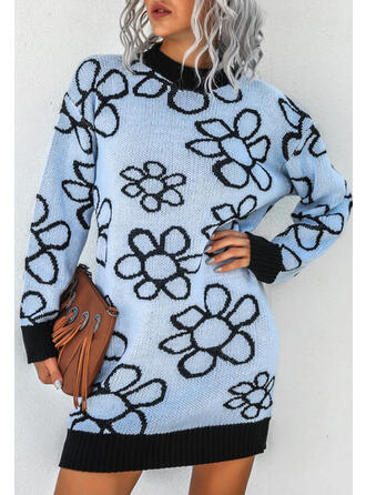 Floral Knit Long Sleeves Hourglass Above Knee Casual Dresses