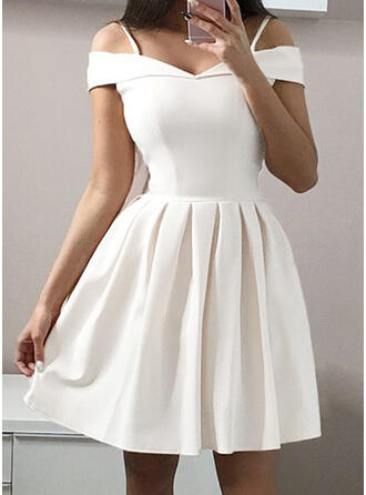 Solid Short Sleeves A-line Knee Length Party/Elegant Skater Dresses