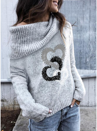 Print Heart One Shoulder Casual Sweaters
