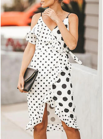 PolkaDot Sleeveless Sheath Asymmetrical Casual/Vacation Dresses