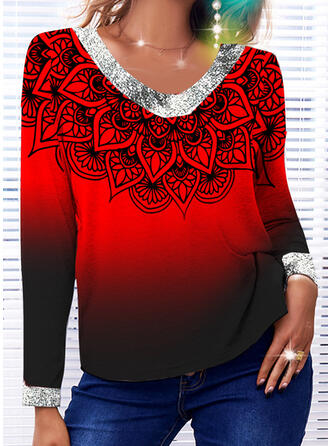 Christmas Floral Gradient Sequins V-Neck Long Sleeves T-shirts
