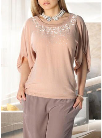 Round Neck Long Sleeves Elegant Blouses