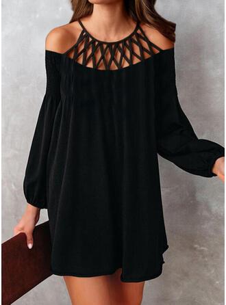 Solid Long Sleeves Shift Above Knee Little Black/Elegant Tunic Dresses