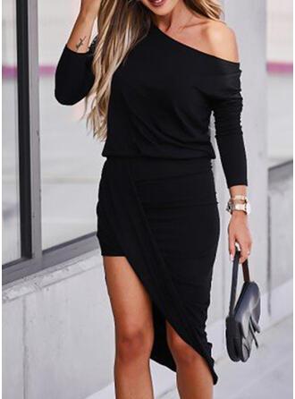 Solid Long Sleeves Sheath Asymmetrical Little Black/Casual Dresses