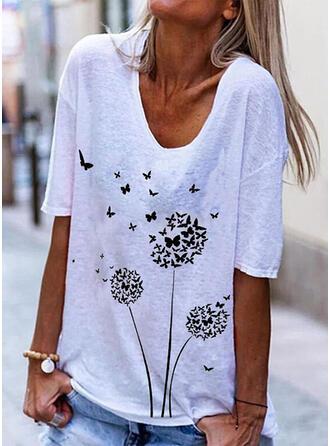 Animal Print Dandelion V-Neck 1/2 Sleeves T-shirts