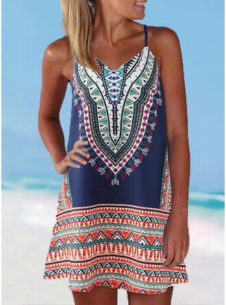 Stripe Splice color Strap V-Neck Plus Size Boho Cover-ups Swimsuits