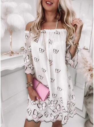 Print/Animal 3/4 Sleeves Shift Above Knee Casual Tunic Dresses