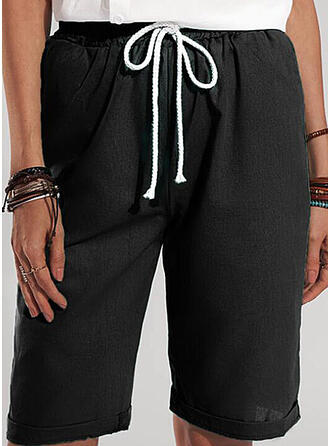 Solid Knee-length Casual Vacation Plus Size Shirred Drawstring Shorts