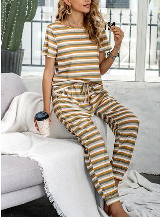 Polyester Striped Round Neck Short Sleeves Pyjama Set
