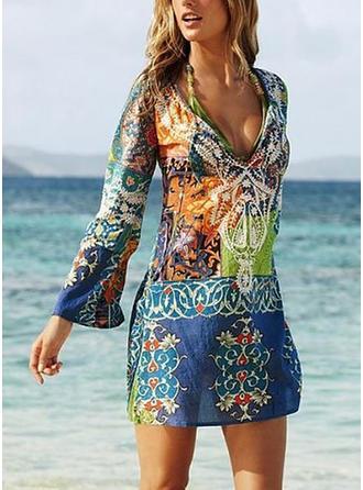 Print Long Sleeves Shift Above Knee Boho/Vacation Dresses