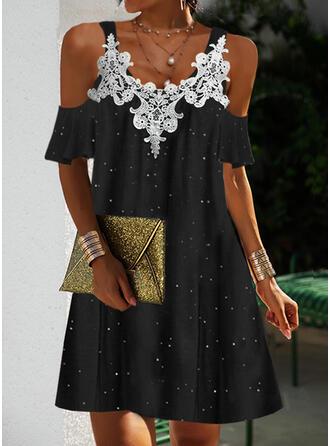Print 1/2 Sleeves Shift Above Knee Elegant Dresses