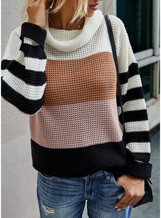 Color Block Striped Turtleneck Casual Sweaters