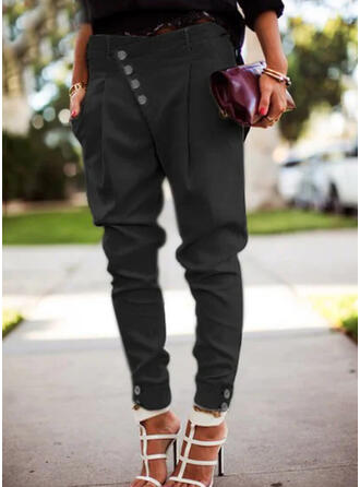 Solid Long Casual Plus Size Pocket Shirred Button Pants