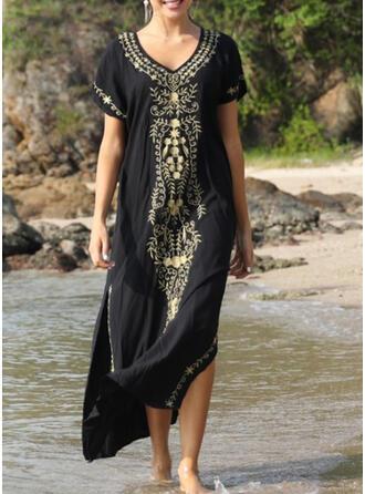 Solid Color U-Neck Elegant Beautiful Classic Cover-ups Swimsuits