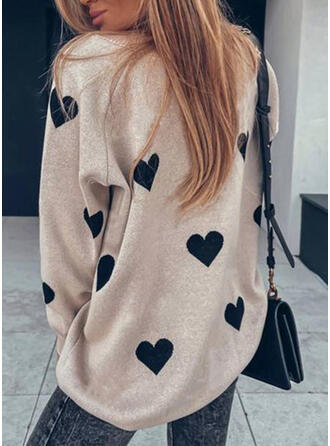 Print Heart Casual Sweaters