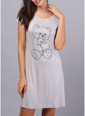 Round Neck Short Sleeves Print Casual