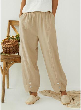 Solid Pockets Plus Size Long Boho Casual Pants