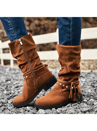 Women's Suede Low Heel With Rivet Zipper Tassel Solid Color shoes