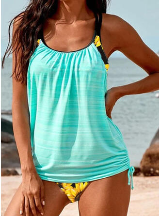 Print Strap U-Neck Fashionable Casual Tankinis Swimsuits