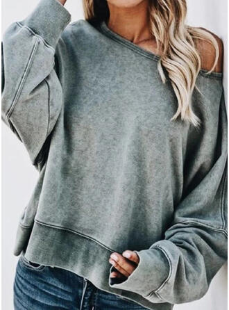 Plain Round Neck Long Sleeves Sweatshirt