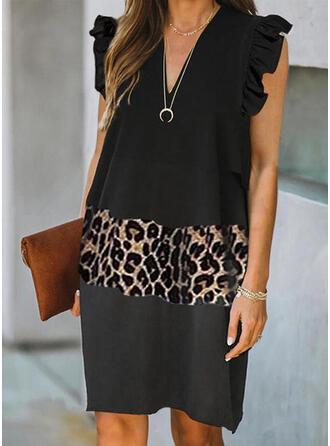 Color Block/Leopard Sleeveless Shift Knee Length Casual/Elegant Dresses