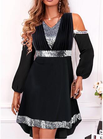 Solid Sequins Long Sleeves Cold Shoulder Sleeve A-line Knee Length Little Black/Party/Elegant Dresses