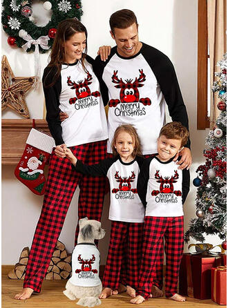 Reindeer Color Block Plaid Letter Print Family Matching Christmas Pajamas