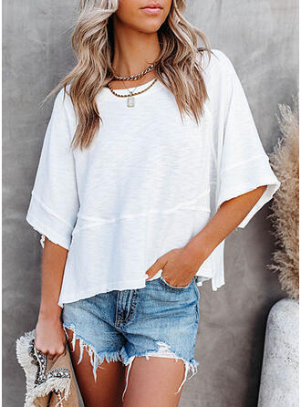 Solid Round Neck 3/4 Sleeves T-shirts