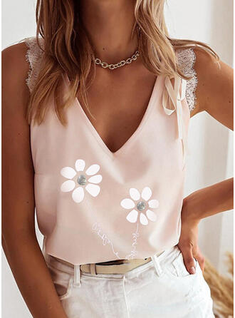 Figure Floral Lace Print V-Neck Sleeveless Tank Tops