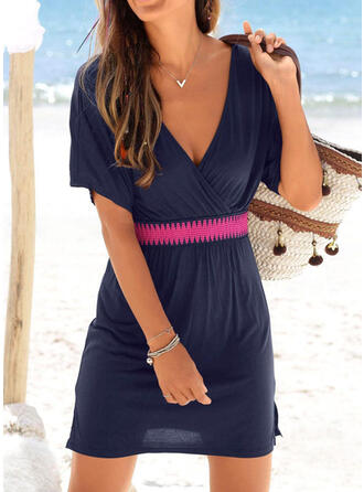 Solid Color V-Neck Sexy Casual Cover-ups Swimsuits