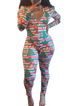 Polyester Long Sleeves Cartoon Christmas Romper
