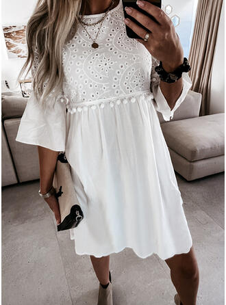 Solid/Hollow-out 3/4 Sleeves A-line Knee Length Casual Skater Dresses
