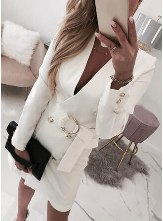 Solid Long Sleeves Bodycon Above Knee Casual/Elegant Dresses