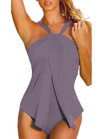 Solid Color Halter Elegant Plus Size One-piece Swimsuits