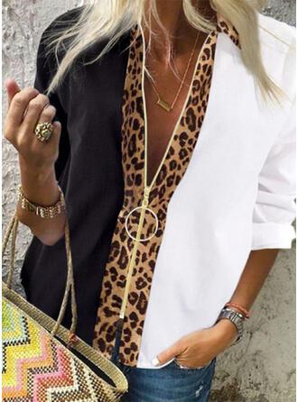 Color Block Leopard Lapel Long Sleeves Casual Shirt Blouses