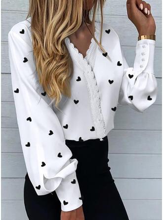 Print Heart Lace V-Neck Long Sleeves Lantern Sleeve Elegant Blouses