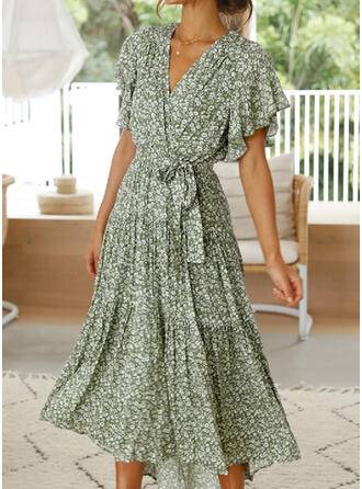 Print/Floral 1/2 Sleeves/Flare Sleeves A-line Wrap/Skater Casual Midi Dresses