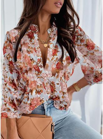 Print Floral V-Neck Lantern Sleeve Long Sleeves Button Up Elegant Shirt Blouses