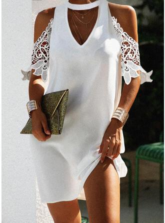 Lace/Solid 1/2 Sleeves Shift Above Knee Elegant Dresses