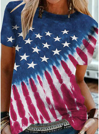 Print Tie Dye Round Neck Short Sleeves T-shirts