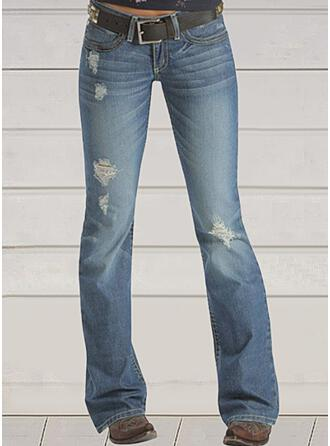 Solid Denim Long Vintage Plus Size Pocket Ripped Denim & Jeans