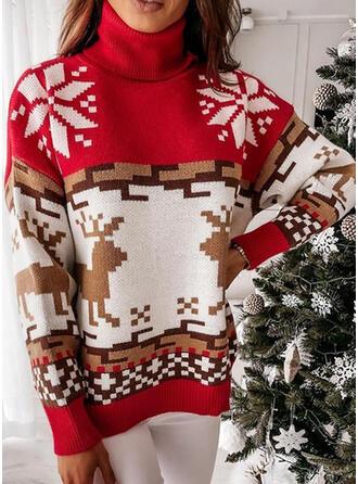 Christmas Print Reindeer Snowflake High Neck Casual Sweaters