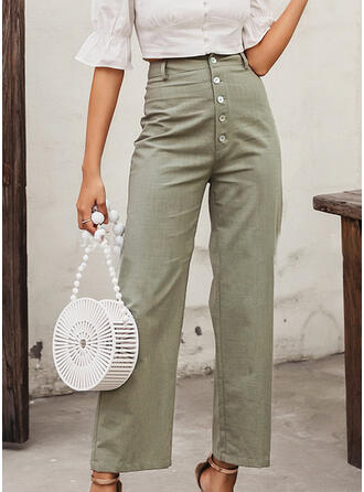 Solid Cropped Boho Casual Elegant Sexy Pants