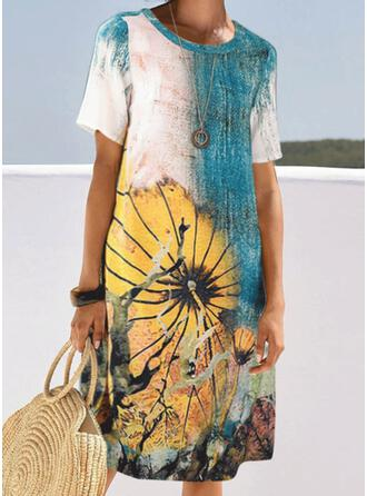 Print/Floral Short Sleeves Shift Casual/Vacation Midi Dresses